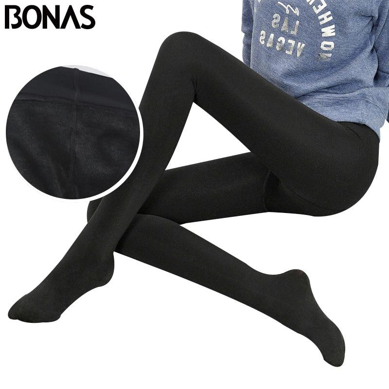 BONAS 2 unids/lote Super elástico medias de terciopelo mujeres Otoño Invierno Caliente medias terciopelo femenino Collant elástico panti