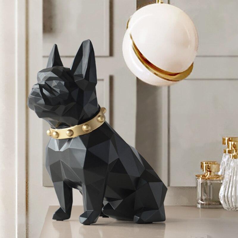 כלב פסל בית תפאורה מלאכות בעלי החיים שרף פיסול מודרני אמנות לבית קישוטי קישוט אביזרי צלמית גן דקור