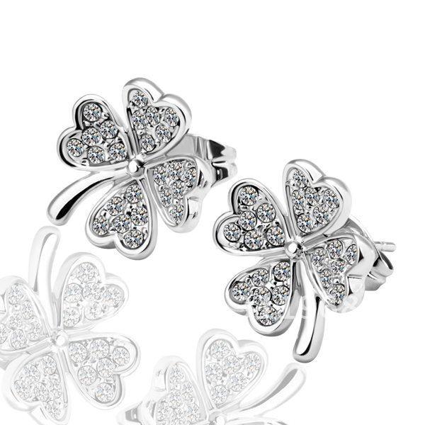 Shining Diamond Jewelry White Gold Earrings Women Dresse Crystal Stud Promotion