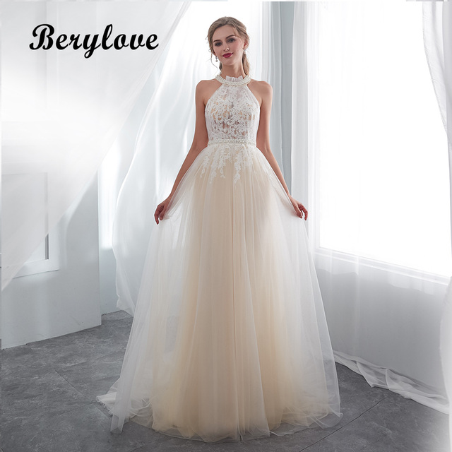 89e6986a658ec Illusion Champagne Wedding Dress 2018 Long A Line Tulle Lace Wedding Gowns  Plus Bridal Dresses For Wedding Formal Dress China