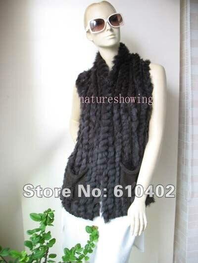 wholesale retail Wonderful Women s rabbit fur vest jacket coat outwear dark brown