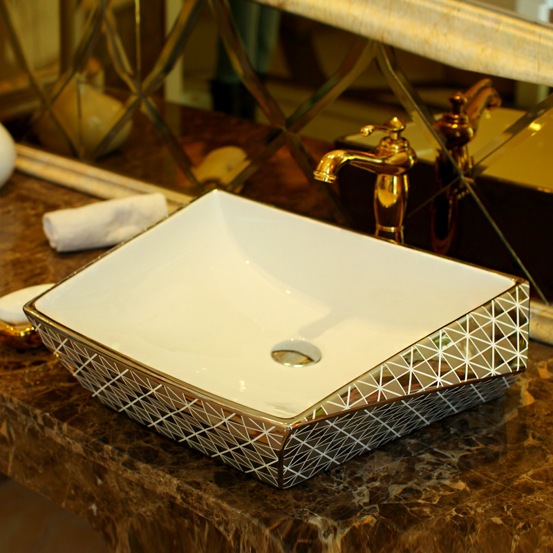 Luxurious Silver Porcelain Bathroom Vanity Bathroom Sink Bowl Countertop  Rectangular Ceramic Wash Basin Bathroom Sink(