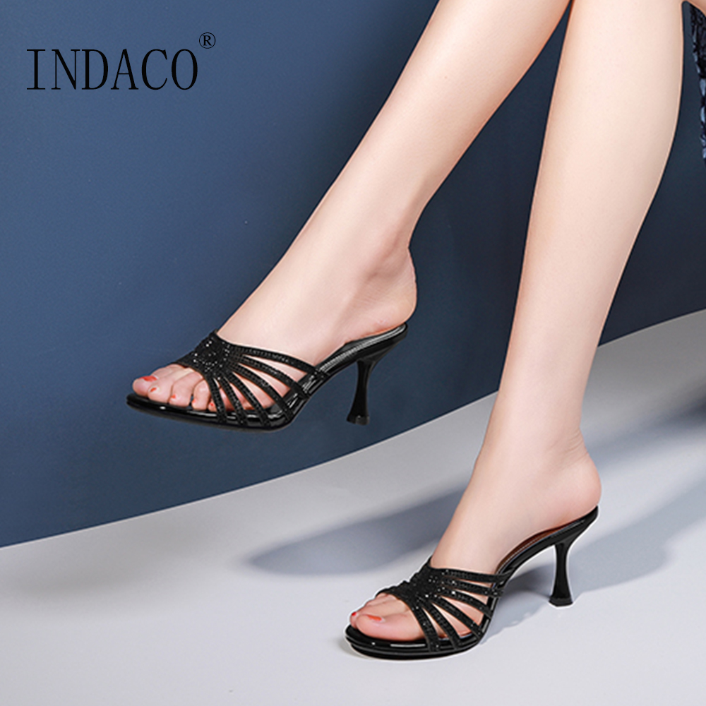 Slippers Women Summer Thin Heel Shoes Open Toe Sexy High Slides Party