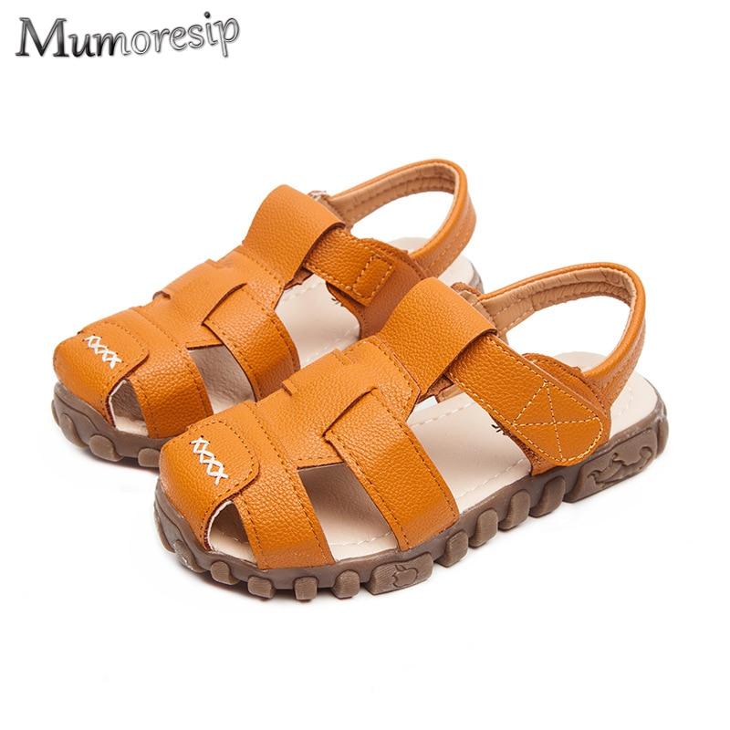 Summer Children Shoes Closed Toe Toddler Boys Sandals Leather Cut-outs Breathable Beach Sandalia Infantil Kids Sandals Comfort