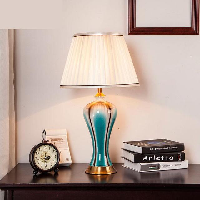 US $278.0 |Jingdezhen Ancient Ceramic Desk Lamp Living Room Simple Bedside  Lamp Bedroom Decorative Desk Lamp Led Chinese ceramic table Lamp-in Table  ...