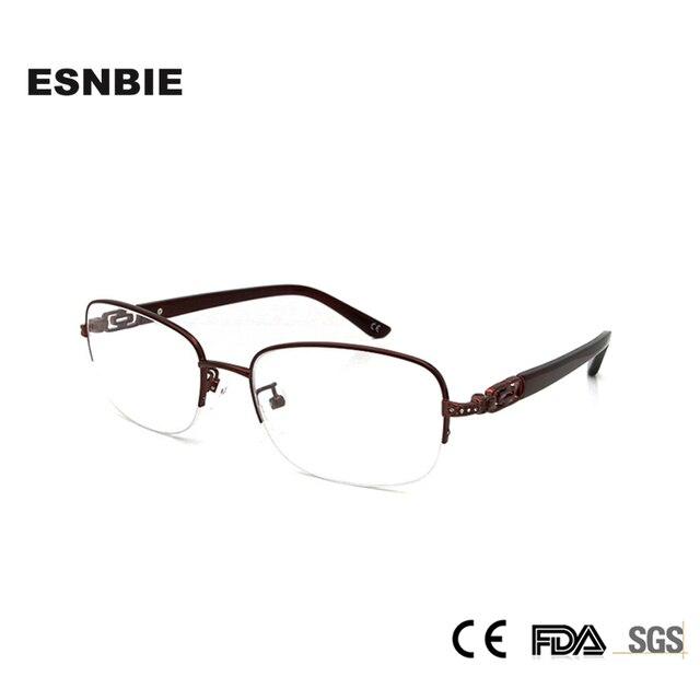83e842e61e ESNBIE Fashionable Spectacles Frames Women Glasses Half Frame Eye Glasses  Diamond Eyeglasses Optical Frame Clear Lens