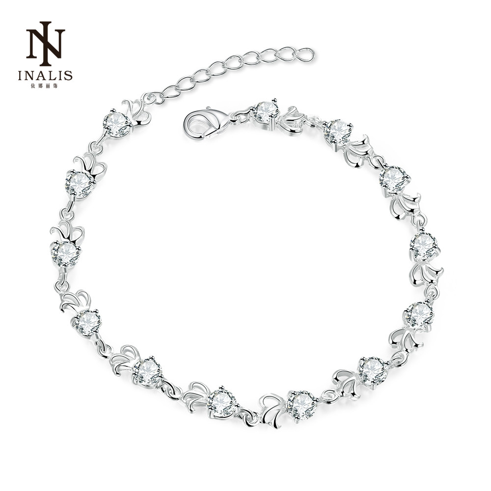 INALIS Elegant Personality Pattern Bracelet Inlaid Zircon Silver Plated Lobster Type Buckle Charm Bracelet For Women