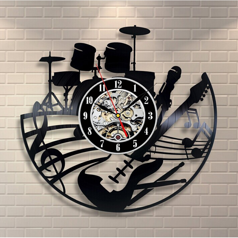 2018 Hot CD Vinyl Record Ceas de perete Modern Design Temă muzicală Decorative Black Art ceas Watch Saat Relogio De Parede
