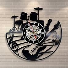 2018 Hot CD Vinyl Record Wall Clock Modern Design Musical Theme Decorative Black Art Watch Clock Saat Relogio De Parede
