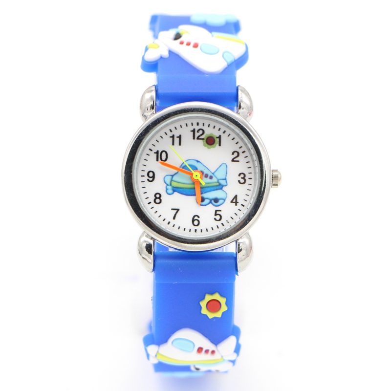 Environmental protection Rubber aircraft airplane Cartoon Children's Watch Boys Kid Quartz Sports Wrist Watches Enfant Relogio cartoon airplane style red