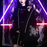 Rosetic Gothic Harajuku Women Summer Kimono Blouse Japanese Style Magic Circle Print Darkness Cardigan Casual Loose Goth Blouses