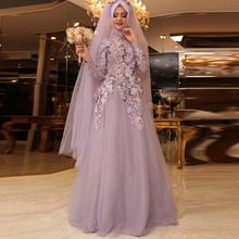 Muslim Wedding Dresses Full Sleeves Vestido De Noiva Sequins Hijab Wedding Dress Long Casamento Vintage Bridal Gowns A Line 2016