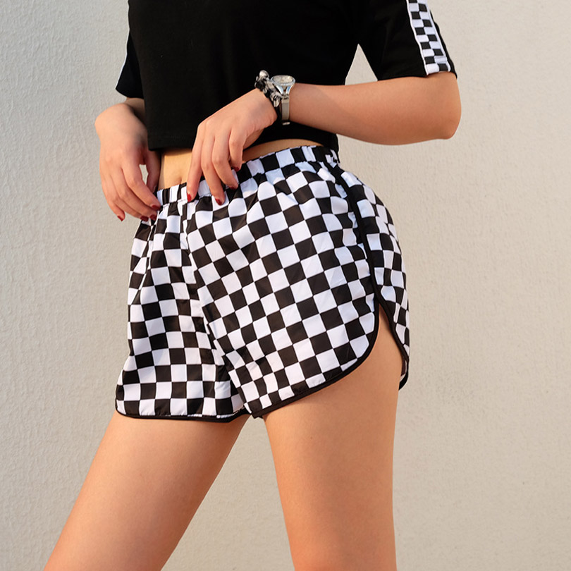Women Summer Workout   Shorts   Plaid Lattice Checker Sweatpants Loose Casual   Shorts   Female Checkerboard Fitness Clothing Streetwear