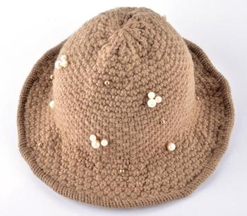 2016 New autumn and winter womens bucket hat  knitted Topper ladies floppy cap bowler caps lady pearl hats for women 2