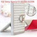 Case para Sony Xperia E3 D2203 D2206 cuero, 3d Bling Rhinestone cristal de diamante carpeta de la pu E3 ( XKM )