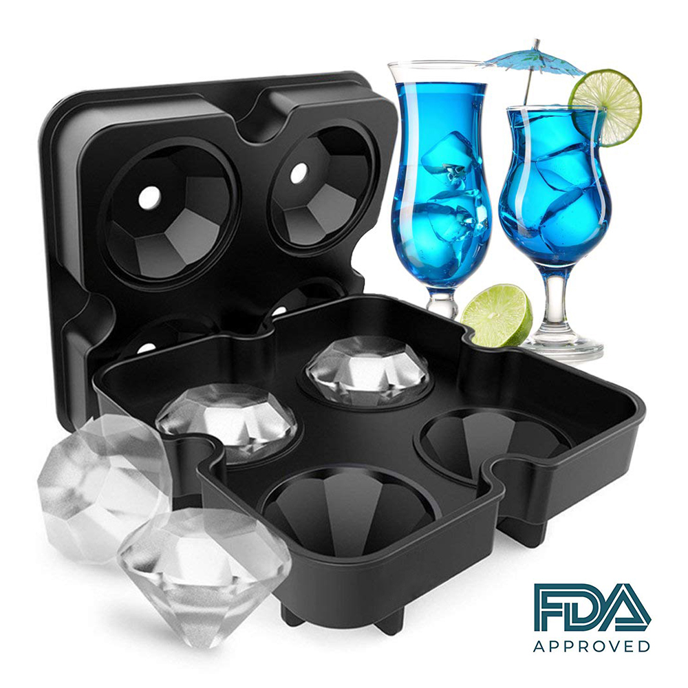 4-Cavity Diamond Shape Ice Cube Tray Silicone Ice Cube Maker Creative Ice Cream Mold For Summer Party Cocktails Whiskey Tool