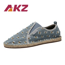 AKZ New Fashion Spring Summer Loafers Men casual shoes Denim Comfortable Breathable adult Male Flats canvas shoes for Man цены онлайн