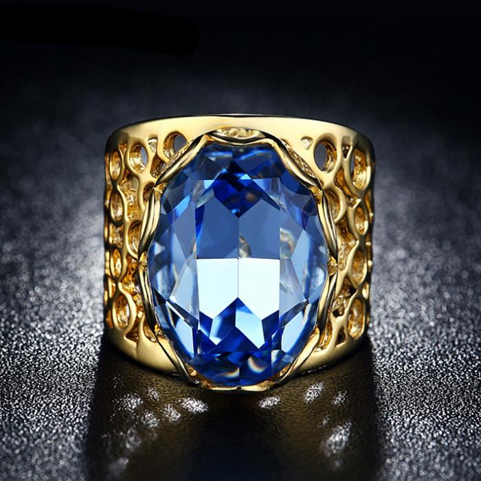 Gold Color blue crystal finger ring women wedding ring lady jewelry Gold Color ring gift pary fashion 6 7 8 9 in stock