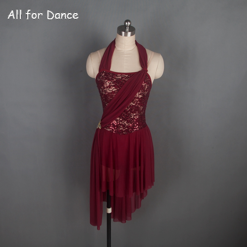 Burgundy Ballet Costume Woman Lyrical Dance Dress Halter Neck Adult Lyrica/Contemporary Dance wear Dress image