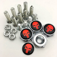 4pcs Funny Car Stickers Skull Logo Customized License Plate Bolts Screws with Gasket Metal Alloy Accessories for JEEP for AMG