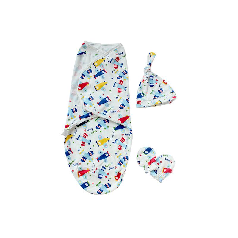 3 Pcs/set Cotton Swaddling Blankets Newborns Swaddle Anti-startle Baby Muslin Wrap Safely Infant Sleepsack Include Hat Gloves