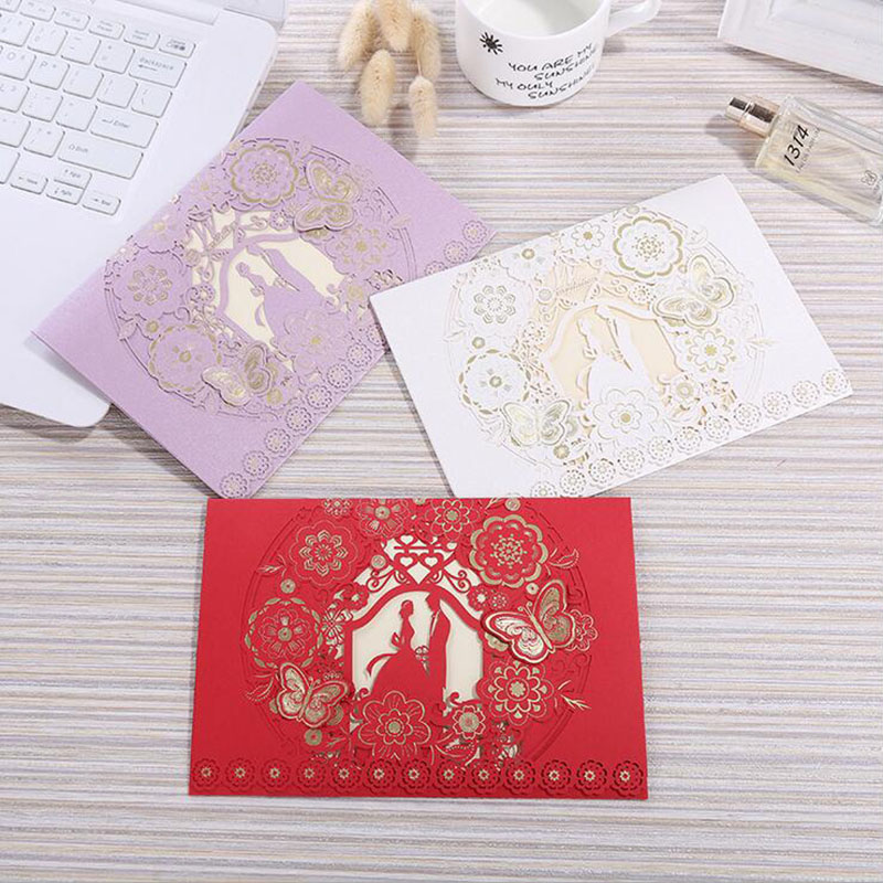 100pcs 4 Color Laser Cut Bride and Groom Wedding Invitation Card Marriage Greeting Card Envelopes Wedding Party Favor Decoration in Cards Invitations from Home Garden