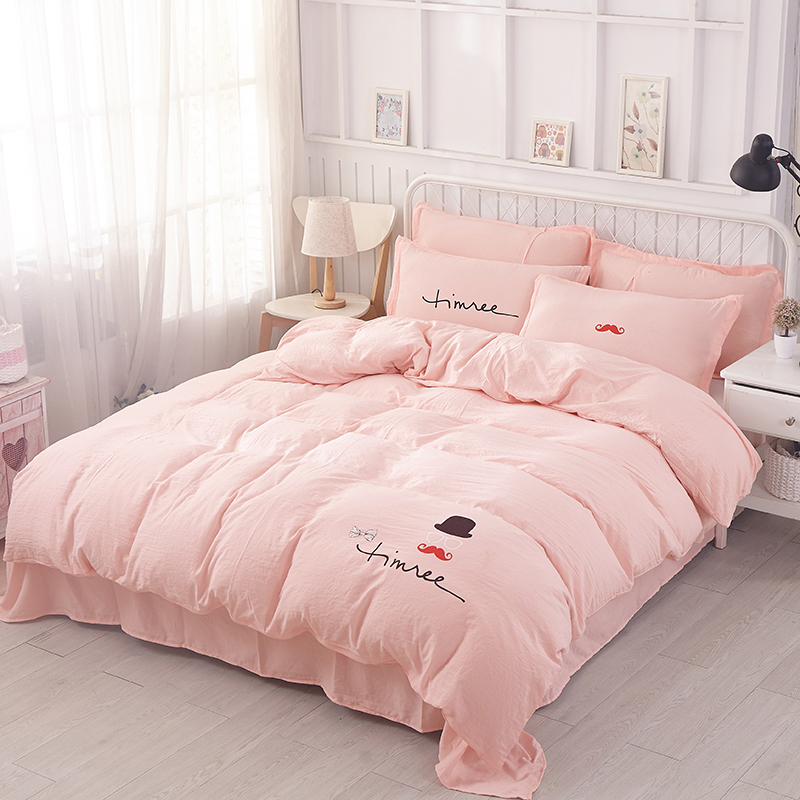 4pcs Duvet Cover Bed Sheet Pillowcase Quilt Cover Bed Linen Light Red  Outlet Pink Cute Rabbit Pattern Bedding Home Textiles Soft In Bedding Sets  From Home ...