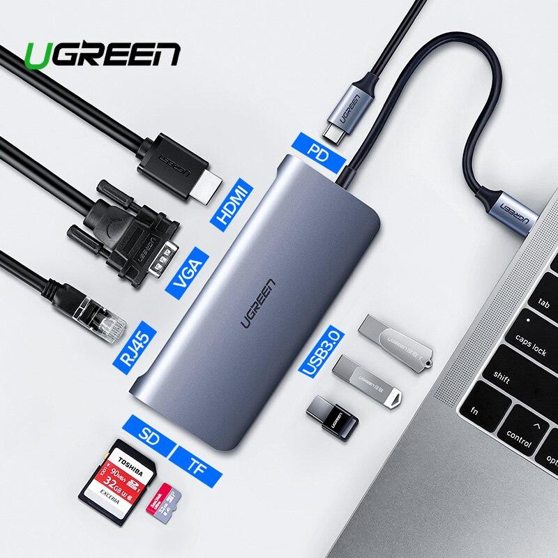 Ugreen Thunderbolt 3 Dock adaptador de USB tipo C a 3,0 HUB HDMI tipo-C Convertidor para MacBook Huawei Mate 20 P20 Pro USB-C adaptador