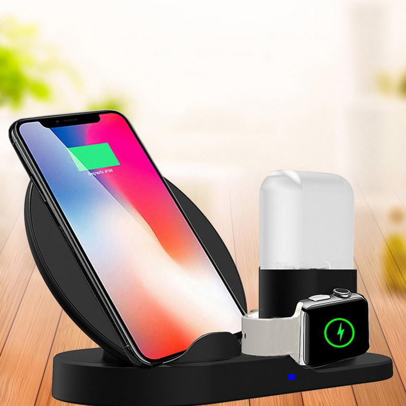 3 in 1 Fast Wireless Charge Stand Cover For Apple Watch iPhone Xs Max 8 Plus Airpod For Samsung Charger Phone Holder Accessories3 in 1 Fast Wireless Charge Stand Cover For Apple Watch iPhone Xs Max 8 Plus Airpod For Samsung Charger Phone Holder Accessories