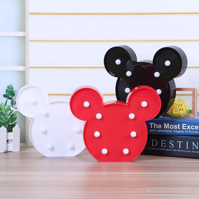 Led Night Light Cartoon Warm White AA Battery Black Red White Mickey Style Table Lamp For Kids Room Lamps Children Baby Gift