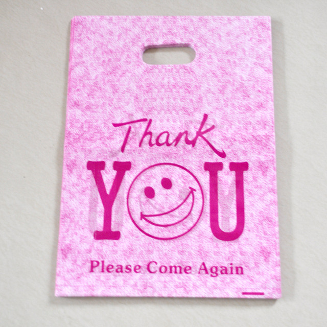 Hot Sale 50pcslot 25x35cm Hot Pink Thank You Design Plastic Gift