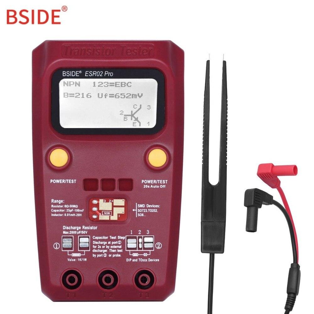 BSIDE Digitale Transistor Tester SMD Komponenten Diode Triode Widerstand Kondensator Induktivität ESR Meter Multimeter mit Pinzette