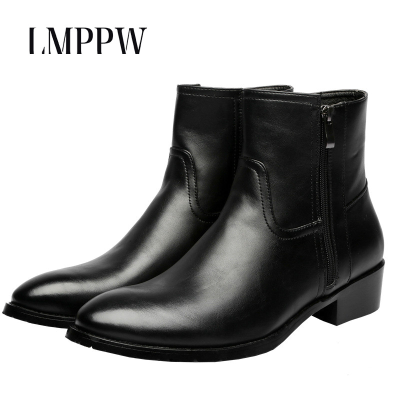 Fashion Men Boots 2018 Autumn Winter Genuine Leather Martin Boots Pointed Zipper Ankle Boots Men Casual Shoes High Quality Black 2018 fashion men ankle boots casual men genuine leather zipper snow boots winter shoes men martin boots black warm boots cc 34