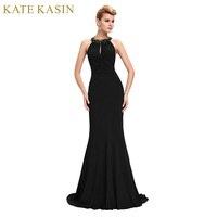 Kate Kasin Black Blue Red Mermaid Prom Dresses Long 2017 Sexy Backless Evening Dress Halter Neck