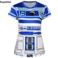 Fashion New Women Tops Short Sleeves R2D2 Robot Printed Top Tee T Shirt Femme Summer Spring