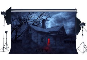 Image 1 - Zdjęcia tła Halloween Horror noc tajemniczy las drewniany dom stare drzewo Masquerade portrety zdjęcie tła