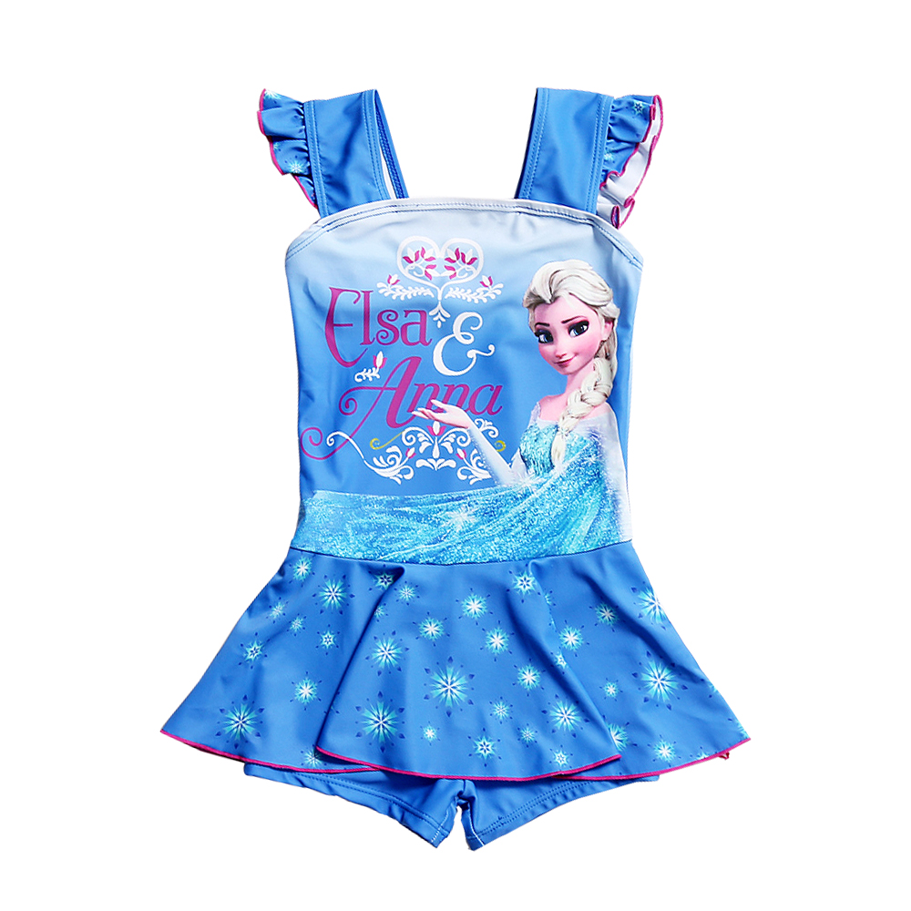Elsa Anna Girls Swimsuit Children One Piece Swimming Skirt Kids Summer Beach Wear Cute Cartoon Bathing