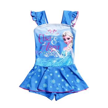 Elsa Anna dziewczęcy strój kąpielowy jednoczęściowy strój kąpielowy garsonka strój kąpielowy dziecięcy ze spódnicą dla dzieci letni dziewczęcy strój kąpielowy ze spódnicą tanie i dobre opinie FaBo Poliester NYLON spandex Dziewczyny Pływać Pasuje prawda na wymiar weź swój normalny rozmiar 1824 Cartoon Jeden sztuk