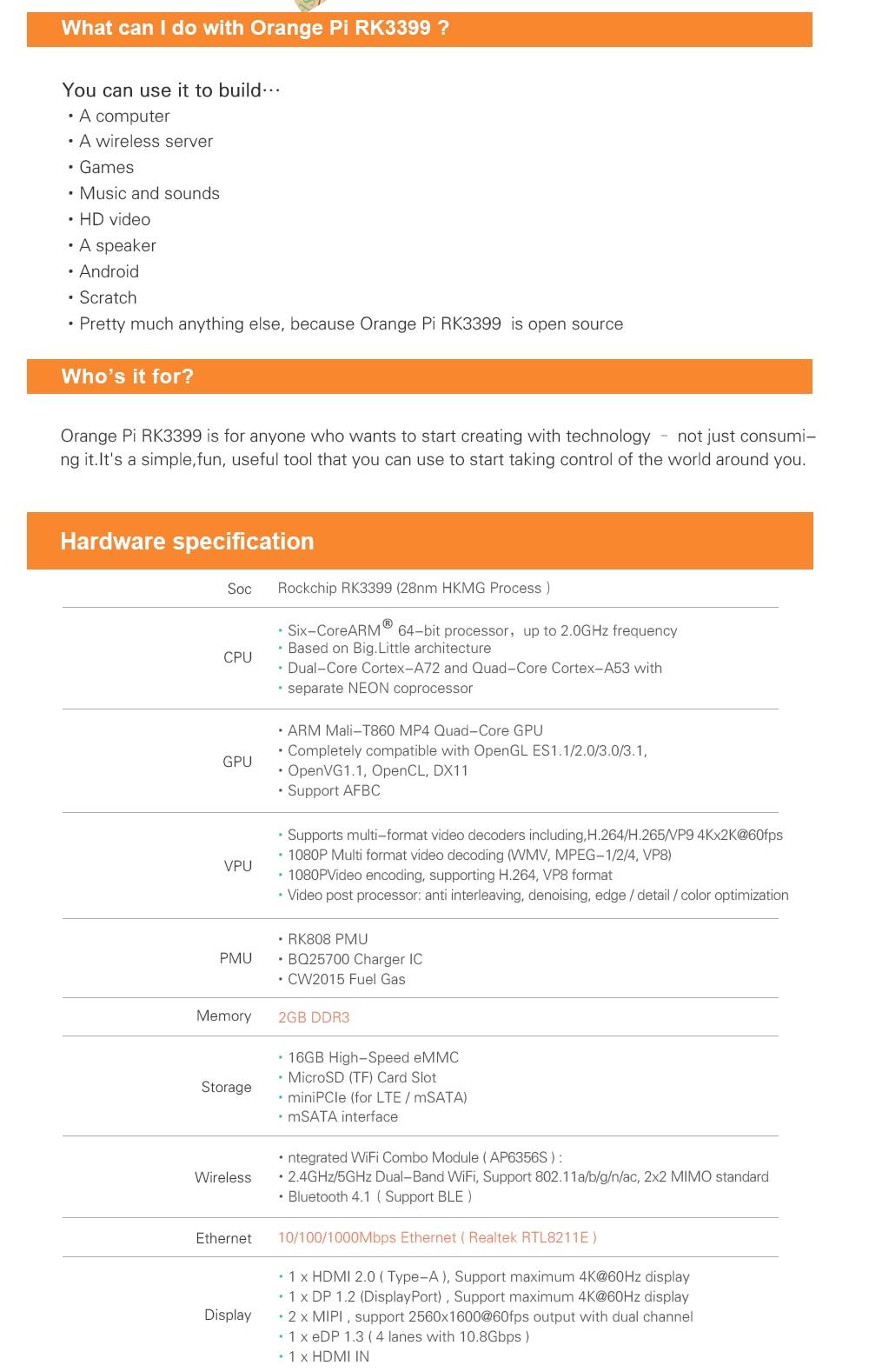 🛒[jusjm] Orange Pi RK3399 2GB DDR3 16GB EMMC Dual Core Cortex A72