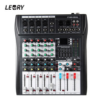 LEORY Professional Karaoke Audio Mixer With USB 48V Phantom Power Bluetooth 6 Channel Microphone Sound Mixing Amplifier Console