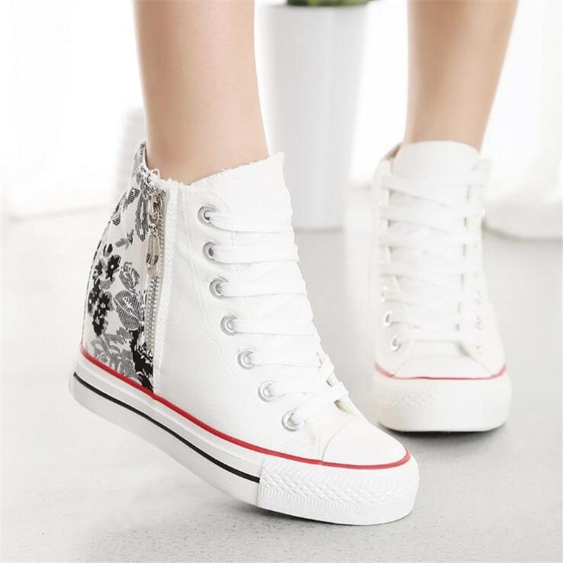Lanshitina Fashion High Top Canvas Women Shoes Espadrilles -7522