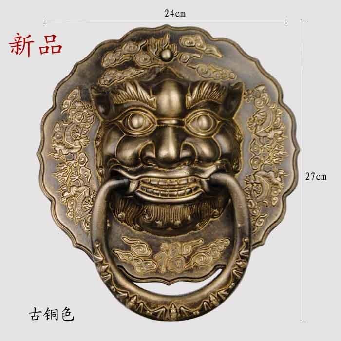 Фото [Haotian vegetarian] special Chinese ancient beast handle copper door knocker ring handle HTA-097