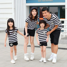 2016 Summer Family Matching Clothing Short-Sleeved Striped T-Shirt  Shorts 2 Pcs Set Father Mother Son Outfits Plus Size