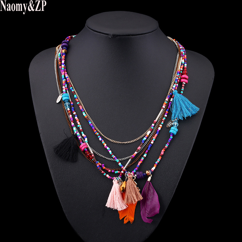 Купить ожерелья naomy & zp в богемном стиле с разноцветными перьями