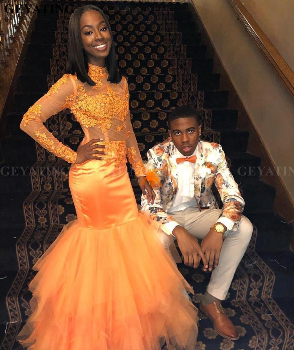 African Black Girls Sheer Orange Mermaid   Prom     Dresses   2019 O Neck Long Sleeve Appliques Lace Women Evening Party Gowns Wear