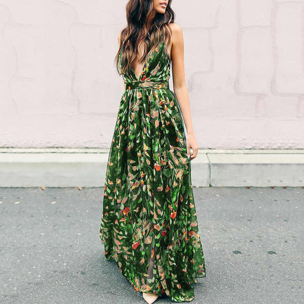 9a16c87293 Women Casual Dress Autumn Sexy Expansion V-Neck High-Waist Spaghetti Strap  Pullover Floral