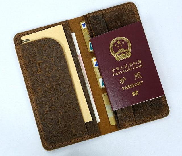 Women Flower Embossing Leather Travel Long Wallet Boarding Pass