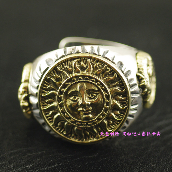 Thailand imports, Good Vibrations new golden sun god totem Silver Ring thailand imports skull blood new skeleton silver ring