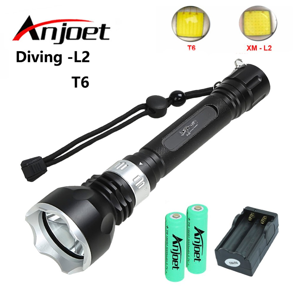 Anjoet Diving Flashlight XML T6 LED 100 meters Aluminum diver Underwater Waterproof Torch Light Lamp Flash +2x18650+charger sitemap 19 xml