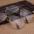 Claro Gafas Retro Gafas de Metal Miopía Gafas Mujeres Hombres Monturas de Gafas Ópticas Marco de Oro Lente Transparente
